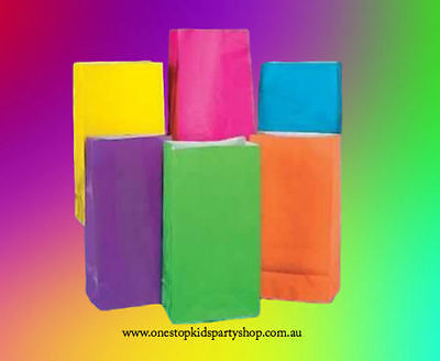 12 NEON MIX PAPER PARTY BAGS