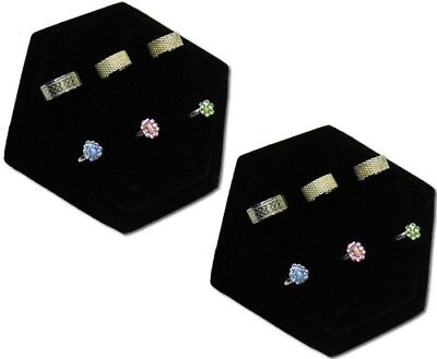 New  2pc Listing 7 14 Clip Black Velvet Ring Jewelry Display Stand Case Rd47b2