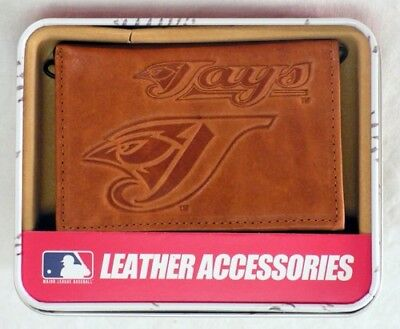 Toronto Blue Jays MLB Embossed Brown Leather Trifold Wallet