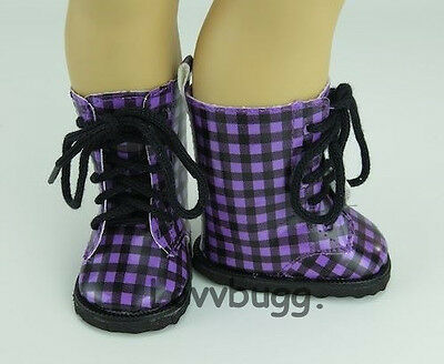 "Purple Black Checked Boots Rain for 18"" American Girl or Boy or Bitty Baby Doll Shoes"