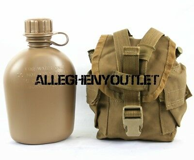 Military 2 Pc Set NEW 1 Quart CANTEEN with USED 1 QT MOLLE USMC Coyote Cover