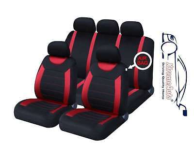 Universal Car Carnaby Black & Red Seat Covers Washable Safe 8 Piece Set