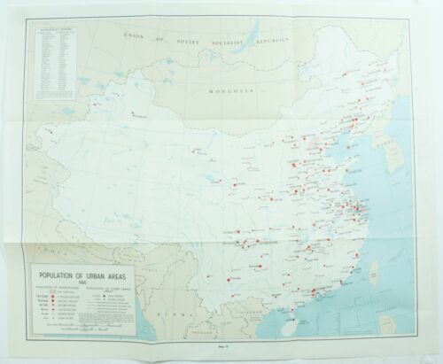 Vintage Population of Urban Areas 1960 China Asia 12 Map