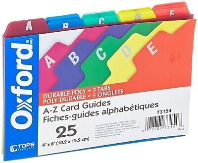Oxford Poly Index Card Guides #73154 / Oxford 40589 Reinforced Board Card File Poly File Guides