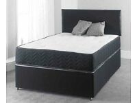 Brand New KingSize Divan Bed Black Base with 5ft/11inch Sprung Memory Foam King size Mattress