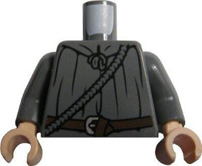 LEGO - Minifig, Torso - Cloak with Rope and Belt Pattern (Gandalf) - Dark Gray - Gandalf Cloak Pattern