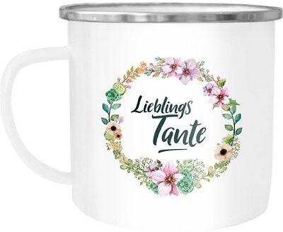 Emaille Tasse Becher Lieblingstante Geschenk für Tante Familie