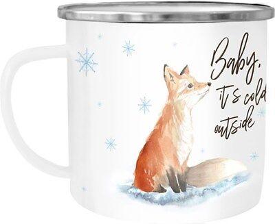 Emaille Tasse Becher Weihnachten Baby it`s cold outside Fuchs Weihnachtsbecher