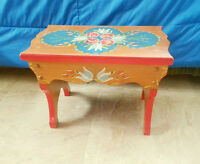 Wood Bench STOOL - Hand Painted Flowers