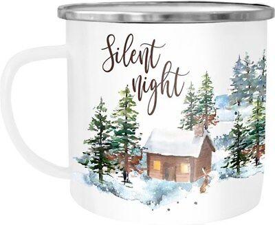 Emaille Tasse Becher Weihnachten Silent night Winter Schnee Christmas