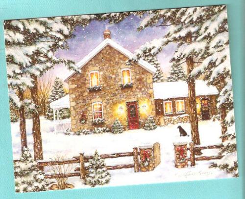 Labrador Retriever Lab Nestled in the Pines Snow Christmas Cards Box of 18