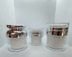Cosmetic Jars Elegant White and Silver Acrylic