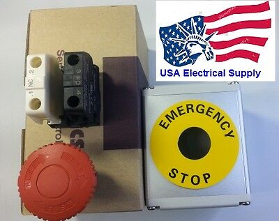 Red Emergency Stop Push Button Switch Station 1no 1nc 110250vac 10a