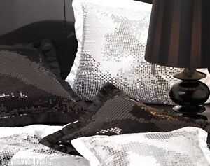 DAZZLE-BLACK-with-BLACK-Sequins-Bed-Runner-220-x-65cm-Logan-Mason-NEW