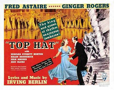 Half Top Hat (TOP HAT Movie POSTER 22x28 Half Sheet Fred Astaire Ginger Rogers Erik)