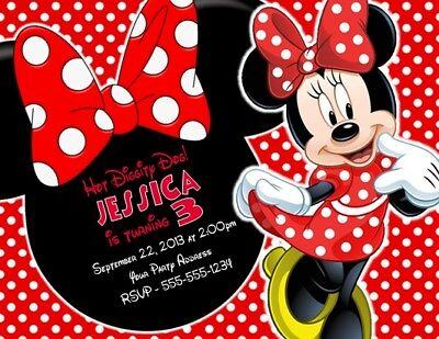Custom Minnie Mouse Birthday Invitations (Minnie Mouse Birthday Party Invitations Invites Personalized)