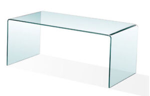 BRAND NEW IN BOX BENT GLASS COFFEE TABLE $200