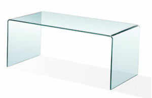~BRAND NEW IN BOX~ BENT GLASS COFFEE TABLE - $200
