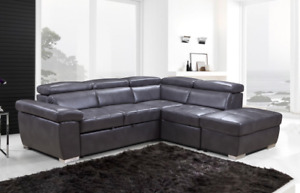 Sofa sectional with sofa bed, adjustable headrests, storage otto