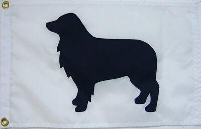 Australian Shepherd Dog Flag On White 12 X18  Sewn In The Usa