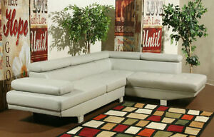 30% OFF - LEATHER SECTIONAL SOFA WITH CHAISE TAUPE