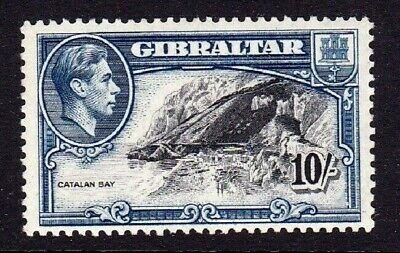 GIBRALTAR 1938 10s BLACK & BLUE PERF 13 VERY LIGHTLY MOUNTED MINT SG130a