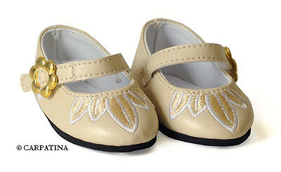 """Cream Leather Doll Shoes fits 18"""" American Girl or Our Generation Dolls"""