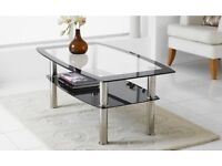 glass and chrome coffee table in excellent condition