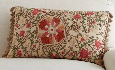 Pottery Barn Harriet Embroidered Lumbar Pillow Cover W/Tassels 16x26 Floral