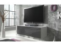 Rocco Floating Gloss TV Cabinet in Gloss Grey and White