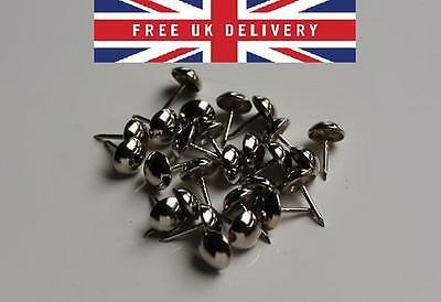 100 X UPHOLSTERY NAILS / STUDS / TACKS / PINS - CHROME SILVER NICKEL FREE P&P