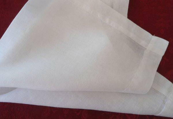 "Set of 6 Vintage 15"" Irish Linen Luncheon Napkins Wide Hemstitch White"