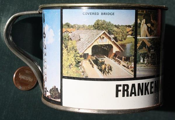 1960-70s Era Frankenmuth Michigan souvenir tin cup-BIG Cheese mouse guy-VINTAGE!