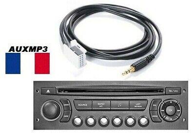 Cable AUXILIAIRE AUX ADAPTATEUR MP3 POUR AUTORADIO PEUGEOT 207 12PIN RD4 france