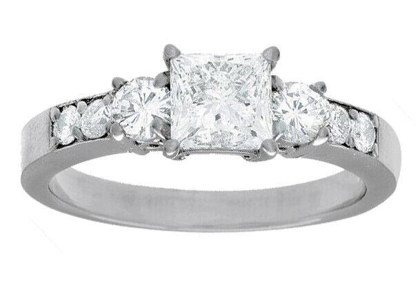 GIA Certified Diamond Engagement Ring 1.50 CTW Princess Cut 14k White Gold
