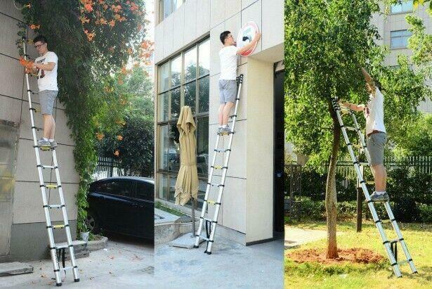 10.5FT 11-Step Aluminium Multi-Purpose Stretchable Ladder US Free Shipping