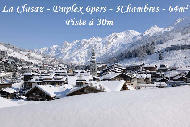 Ski for XMAS or NEW YEAR in LA CLUSAZ in a 64m², 3 bedrooms cosy flat with ski slope at 30m
