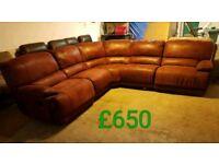 Red fabric corner sofa recliner