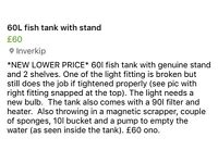 60 litre fish tank , stand and accessories