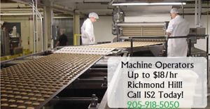 Machine Operators & Packers Needed in Richmond Hill!
