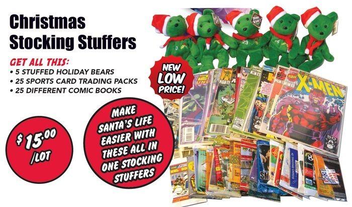 Christmas Holiday Stocking Stuffers Lot, Stuffed Bears, Trading Cards, Comics