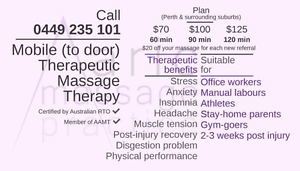 Mobile Therapeutic Massage Therapy Cannington Canning Area Preview