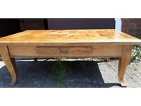 Large Solid Hardwood or Oak Parquetry Coffee Table With Drawer - Wood Parquet
