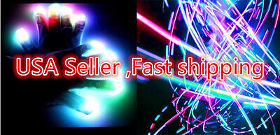 6 Modes LED light rave flashing finger lighting glow,cool dance electro gloves
