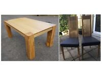 Large Oak Dining Table 180cm & Brown Leather Chairs FREE DELIVERY 781