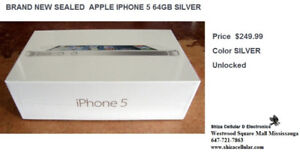 BRAND NEW SEALED  APPLE IPHONE 5 64GB SILVER FACTORY UNLOCKED WI