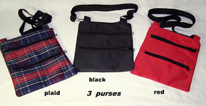 Purses – totes; plaid, red, and black; 3 zipper pouches; $8 each