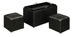 Black Faux Leather Storage Bench With 2 Side Ottomans Inside
