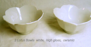 Lotus shape Bowls, 2 porcelain high gloss white, like new
