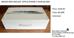 SEALED BOX BRAND NEW APPLE IPHONE 5 64GB SILVER+WARRANTY FACTORY